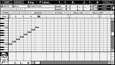 The IPS works on an existing MIDI part, such as this step‑time C scale.