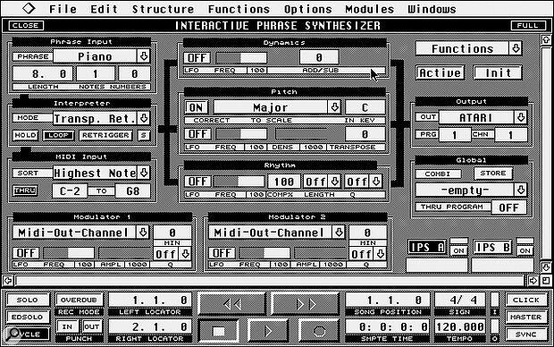 The IPS window, as it appears in Cubase 3.1 on the Atari ST.