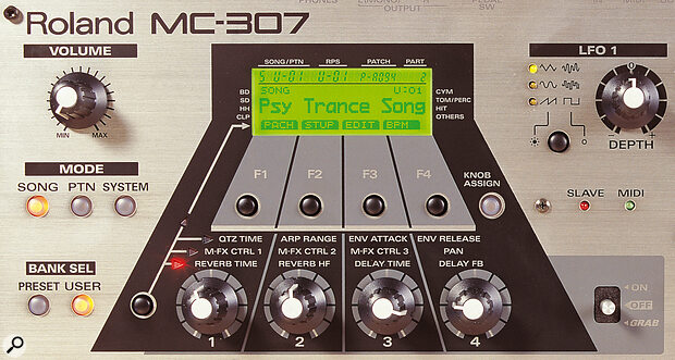 The main part of the MC307's front panel. There are fewer physical controls than on the top‑of‑the‑range MC505, but Roland get around this by offering four soft buttons and four knobs with three different function sets, accessed by the black button to the left of the first knob It's a neat, flexible control system.