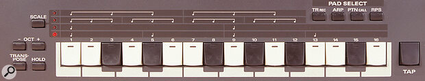 The mini‑keyboard allows both real‑time and step‑time note input. The four buttons on the right determine the exact function of the mini‑keys: Step‑time record, Arpeggiator editing, Pattern call‑up for on‑the‑fly chaining, and real‑time phrase selection (RPS) respectively.