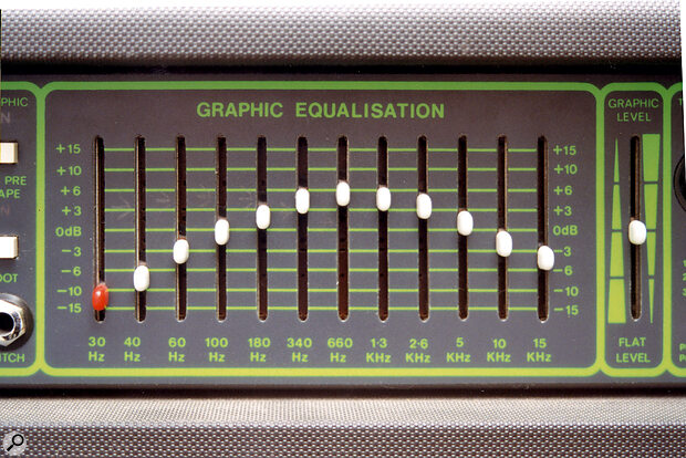 A simple graphic equaliser, showing a general mid‑range boost, along with cuts at both frequency extremes.