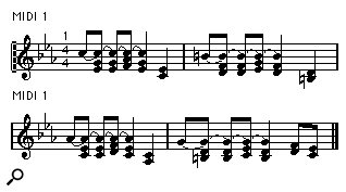 Figure 1. Overlapping notes can make a score very difficult to read.