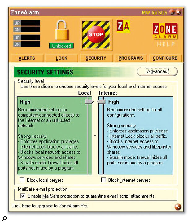 If you want your PC to be safe from prying eyes while logged onto the Internet, a personal firewall utility such as Zone Alarm is a must (see main text).