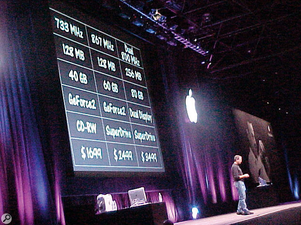 Steve Jobs used his keynote speech to announce the processor speeds for the new G4 Macs.