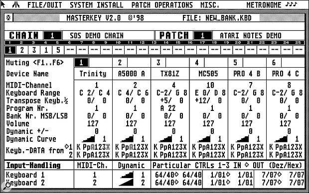This is the main window of MasterKEY, showing six instruments being split and layered, each with their own MIDI channel, key range and Program Change number.