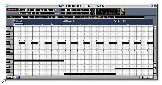 Here, I've played a simple four‑bar piano part into Cubase without a click, then edited it so that the first note falls at the very start of the part. Notice how none of the notes lines up with a bar marker. I've selected the long notes that fall on the first beat of each bar, and created Meter Hitpoints from them, which appear at the top of the screen.