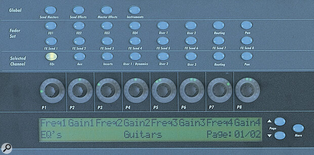 In Selected Channel mode, the eight soft controllers above the (dimly‑lit) display each control different parameters relating to a single channel — in this case the EQs.