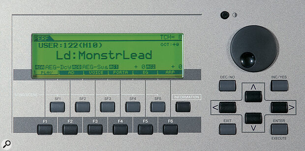 The LCD, together with the data wheel and soft buttons, provide an adequate editing interface, although greater interaction of the display with the 'quick edit' knobs and sliders would have been welcome.
