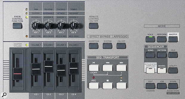 The 'quick tweak' knobs and sliders, master effects and arpeggio on/off buttons, and sequencer transport and mode selection controls.