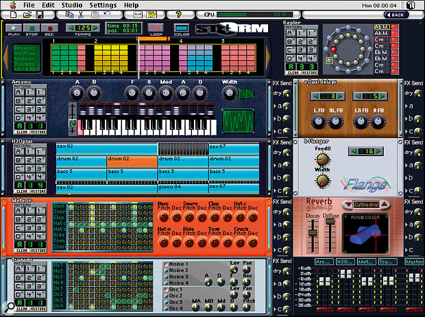 Composition Window: When the studio is built, all the action takes place here. The sequence editing bar is to the top right, with Kepler to its right, and sound and effect modules below. Note the basic level mixer (with bar‑graph meters), bottom right, and the dry/effect send controls to the right of each module.