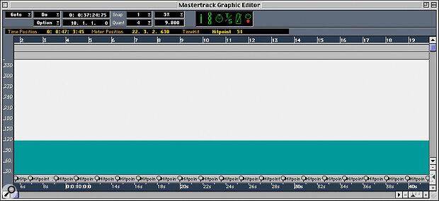 The Master track after Time Hitpoints have been input, one hit per bar: note that the MIDI icon is active in the Function bar.