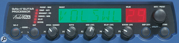 A row of five rotary controls beneath the main display makes effects editing quick and easy.