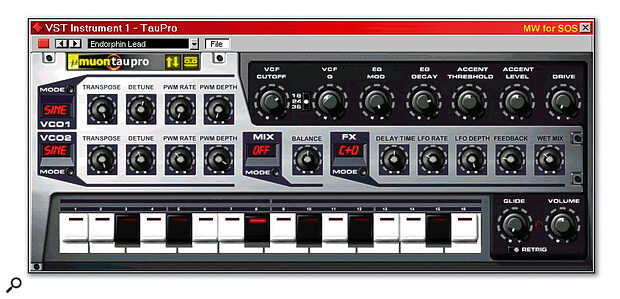 Muon's Tau Pro is a versatile two‑oscillator monophonic VST synth that's ideal for acid bass and lead synth lines.