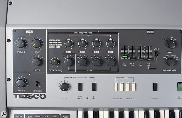The four white rectangular switches above the keyboard control the way in which the four VCOs affect notes played on the keyboard — see the explanation of VCO modes, right.