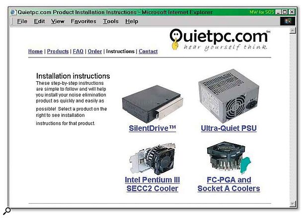 The QuietPC.com web site is dedicated to noise‑reducing PC products.
