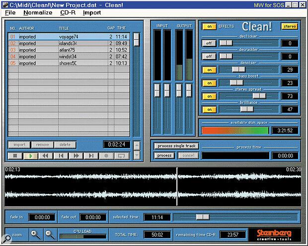 Steinberg's Clean audio restoration software.