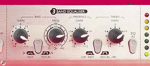 The Trak Master's three‑band equaliser can be switched to deal with the different demands of vocal and instrumental recording.