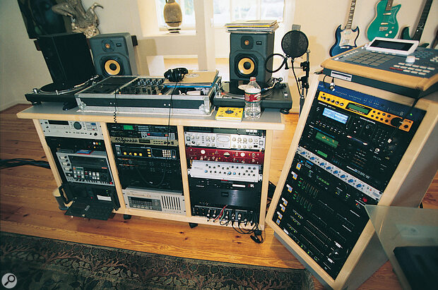 4 Box Studio - DJ deck, samplers and outboard rack.