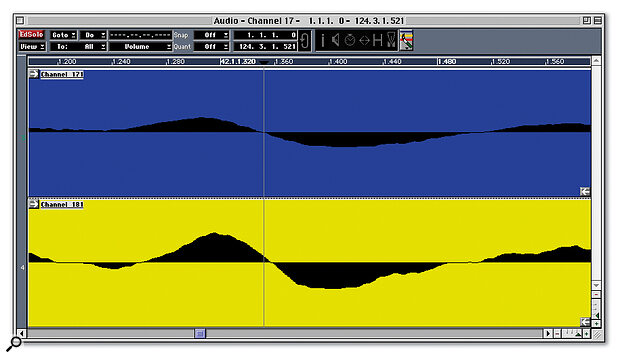 This acoustic guitar was recorded in stereo with the mics at different distances, and consequently suffers from comb filtering when the left and right signals are collapsed into mono — note how the signal recorded with the closer mic (top) is several samples ahead of the other. The Audio Editor's Nudge tool allows us to move parts a single sample at a time to find the best position for phase coherence.