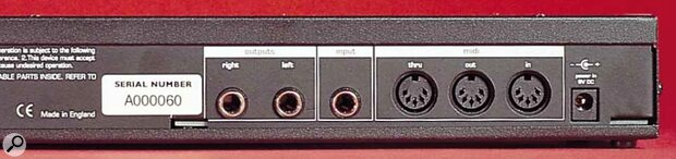 A simple stereo out suffices for the A‑Station's connections to the real world. You do get a mono audio input and full set of MIDI connections, though.