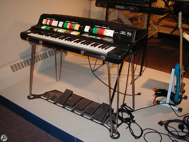 The rare RMI Keyboard Computer II — a digital synth with 12‑note polyphony, keyboard splitting and layering, real‑time parameter control from that monster pedalboard (beneath), and a basic 'memory preset' system. Not bad for 1975, especially at under $5000.