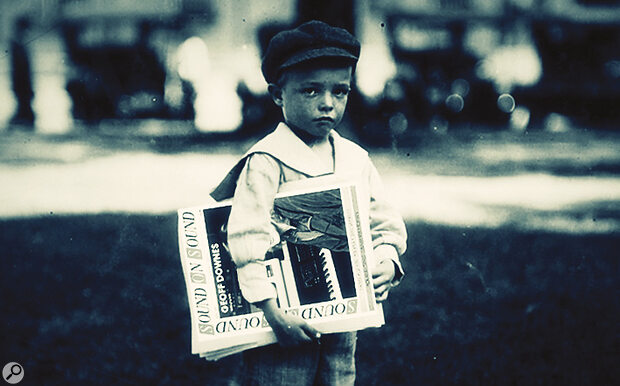 A newsboy delivers an early copy of Sound On Sound, 1914.