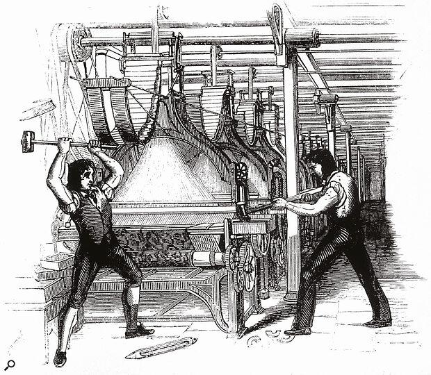 Luddite tape‑ops destroy a hard‑disk recorder, circa 1812.