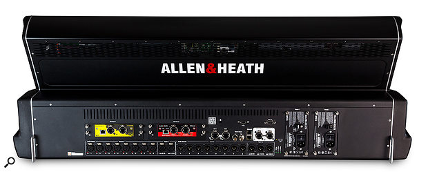 The rear of the console, showing the eight local analogue inputs and outputs as well as two AES inputs and three AES outputs. The two I/O Port slots are for optional cards, in this case Waves Soundgrid and Dante networking cards. Connection to the stage racks is via the two gigaAce network ports. To the right the dual redundant power supplies add reliability.