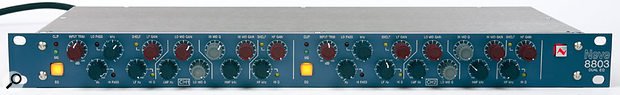 The front panel includes everything you'd expect from a Neve EQ, with an identical set of controls for each channel. The Q setting is switchable on the outer bands and fully variable for the two mid bands.