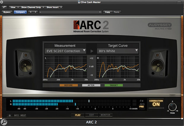 The ARC 2 plug-in lets you select from multiple measured curves — if, for instance, you have several sets of monitors — and apply either aflat response or, as here, aVirtual Monitoring speaker emulation.