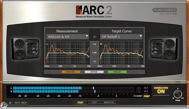 The newest ARC plug-in window looks just like all ARC 2.x versions. This view shows the calibration for my studio using Equator Audio D5s and a KRK 10S subwoofer. ARC works fine with nearfield monitors, full-range and subwoofer arrangements, and can be switched instantly between different monitor setups.