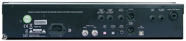 The rear panel hosts avariety of I/O, both analogue and digital.