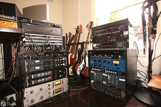 Rechtshaid's studio also features its fair share of outboard. Left rack, from top: UA Apollo audio interface, Grace Design M905 monitor controller, Furman PL-Pro DMC power conditioner, Neve 1272 and 1073 preamps racked by Boutique Audio & Design, Urei 1176LN compressors (x2), Digitech Vocalist II vocal processor. Right rack, from top: Eventide H949 Harmonizer and SP2016 reverb, AMS RMX16 reverb, API 3124+ preamp, Tube-Tech CL1b compressor, Smart C1 compressor, BAE-modified Neve 2254E stereo compressor and Inward Connections DEQ1 equaliser.
