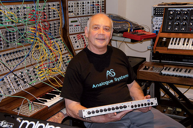 Bob Williams holding the first ever Analogue Systems product, the FB3 Filter Bank.