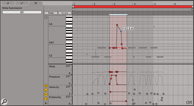 Editing the 'five degrees' of MPE expression on a single note.