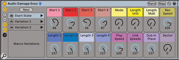 Racks can now have up to 16 macro controls—and variation sets as well.