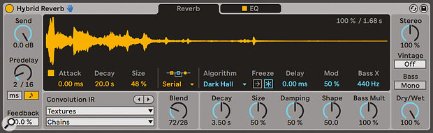 The Hybrid Reverb device offers two reverbs at the same time.