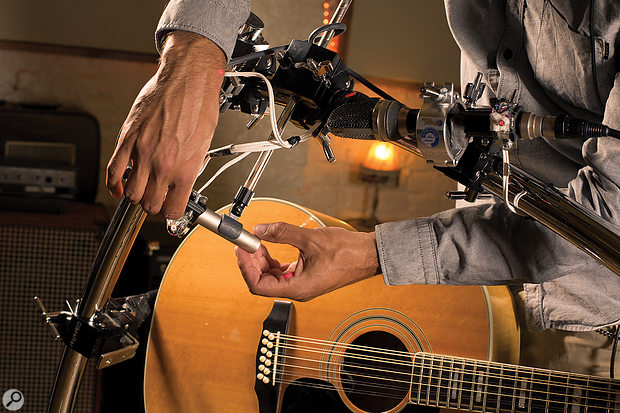 Precise and repeatable mic positioning was crucial to capturing the best possible guitar sound.