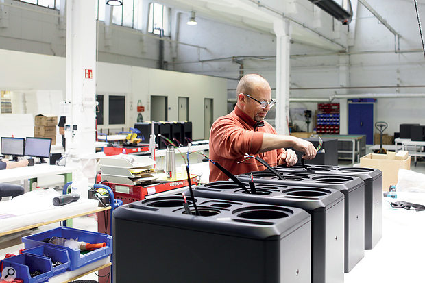 S3H loudspeakers being assembled in the ADAM Audio production hall.