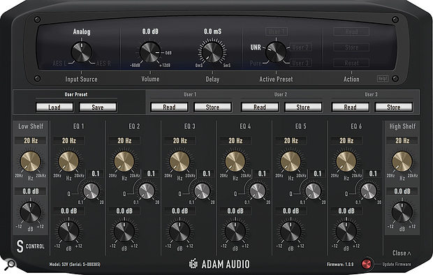 ADAM's S Control app allows you to tweak an ADAM S Series speaker from your computer (and listening sweet spot), via USB.