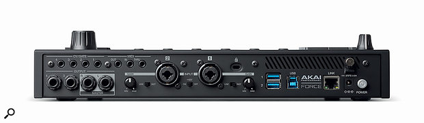 The Force's rear panel is equipped with 3.5mm CV/gate outputs, 3.5mm MIDI in, out and thru sockets, four quarter-inch audio outputs, two XLR/jack 'combi' inputs with gain controls, three USB ports and an Ethernet port.