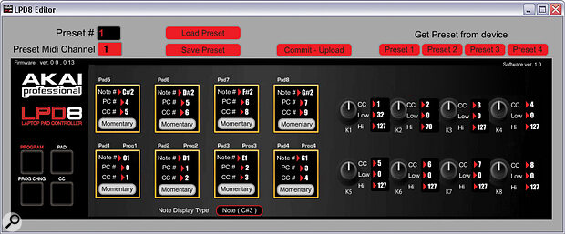The LPD8 Editor software.