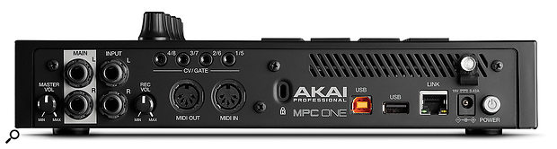The MPCOne's back panel features a master volume rotary control, quarter-inch audio outputs, a recording volume rotary control, MIDI I/O 5-pin ports, four 3.5mm CV/Gate sockets, two USB ports and an RJ45 Link port.