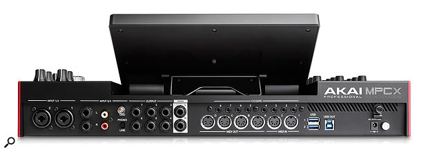 The MPCX's back panel is generously festooned with connections for audio, turntable, MIDI, CV and Gate, and USB. There are also additional audio inputs, headphone sockets and an SD Card slot round the front.