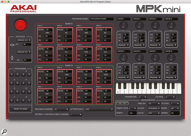 Akai  MPK Mini MkIII Program Editor