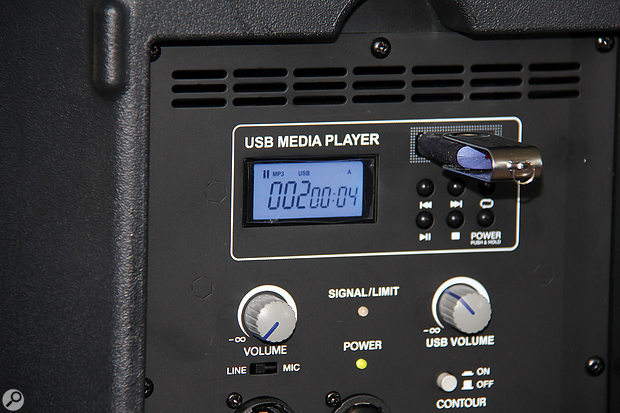 The TX15USB's playback module features an LCD display and controls for playing, pausing and skipping between tracks.