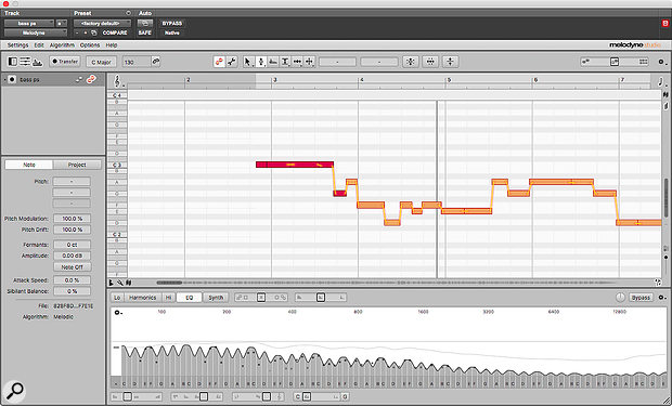 Don't have a bass handy? Try playing a bass part on electric guitar, then using Melodyne's Sound Editor to beef up the sound before running it through a bass amp simulator...
