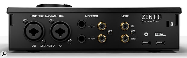 The rear panel features combo inputs, quarter‑inch and phono audio outputs, S/PDIF I/O and a pair of USB‑C ports.