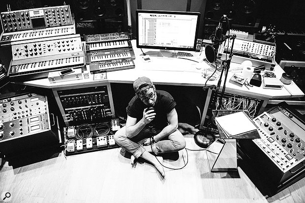 Jack Antonoff's own studio is set up in such a way that everything he needs is within reach and ready to go immediately.