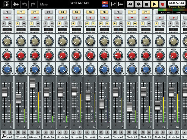 Auria's Mix view. Unlike the Edit view, it can be rotated to portrait orientation, to give long-throw faders.
